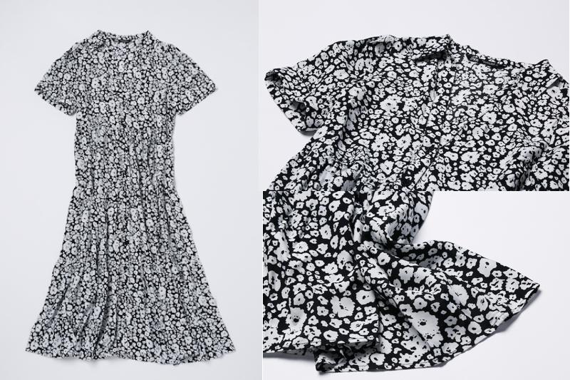 ZARAのプリント ミディワンピースの全体と襟元によった写真と裾の写真