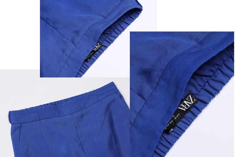ZARAのリネン素材のブルーのワイドパンツのはき口、ウエスト部分