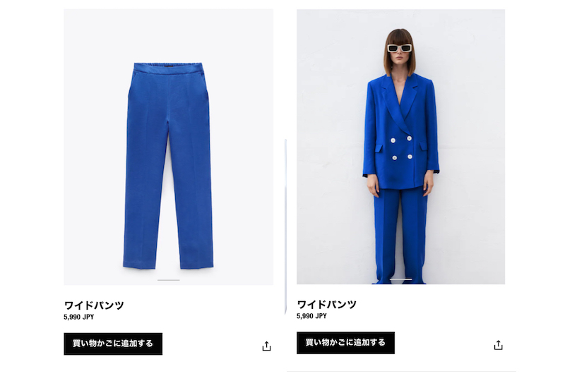 ZARAの公式ページに掲載のワイドパンツのページ。ブルーのリネン素材のワイドパンツとそれをはいた女性
