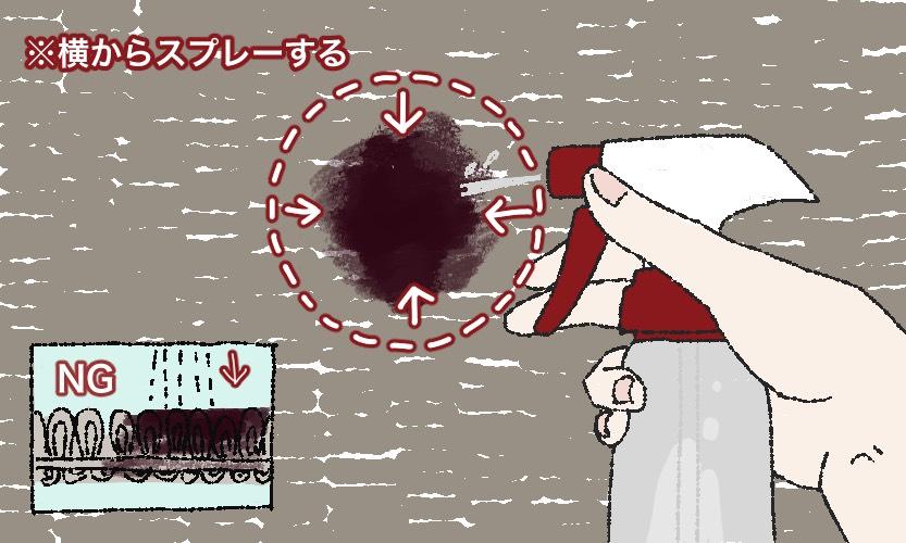 汚れに洗剤液をスプレーしているイラスト