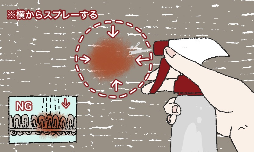 キムチの汚れに洗剤液をスプレーしているイラスト