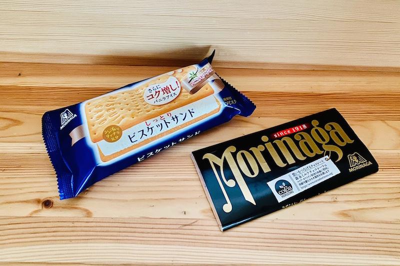『ビスケットサンド』(森永製菓)と『森永ミルクチョコレート』(森永製菓)