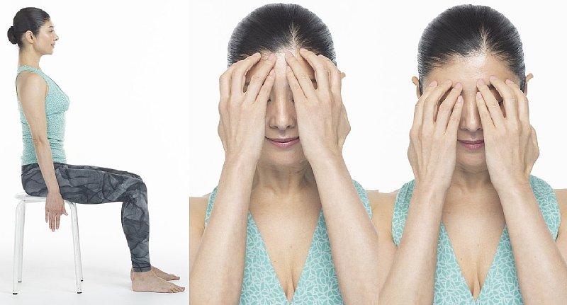 「前頭筋リセット」のやり方(左写真から【1】【2】【3】)