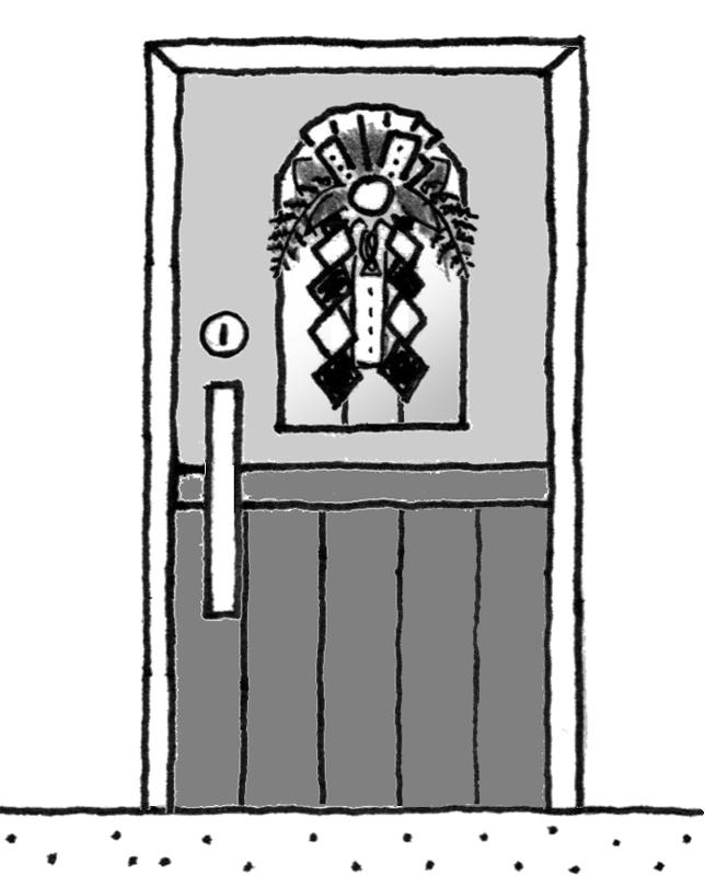 ドアにかけられたしめ飾り